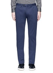 Armani Collezioni Tailored Stretch Cotton Blend Pants Blue
