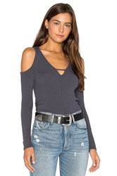 Project Social T Sultry Keyhole Long Sleeve Charcoal