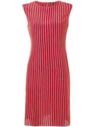 Aspesi Striped Silk Dress Red