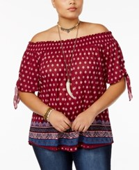 Almost Famous Trendy Plus Size Printed Off The Shoulder Top Berry Teal Combo