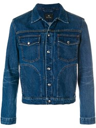 Paul Smith Ps By Pleated Front Denim Jacket Cotton Blue