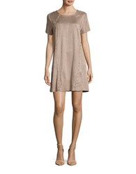Design Lab Lord And Taylor Studded Faux Suede Short Sleeve Shift Dress Taupe