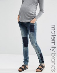 Mama Licious Mamalicious Patched Jeans Blue