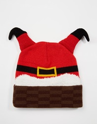 Asos Beanie In Red With Father Christmas Design