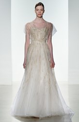 Women's Amsale 'Elaine' Organza Overlay Strapless Hand Beaded Tulle Gown Blush