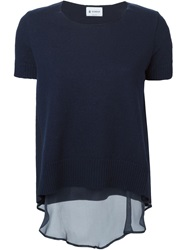 Dondup Layered Short Sleeve Sweater Blue