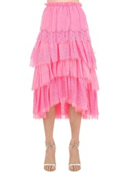 Ermanno Scervino Ruffled Lace Cotton And Linen Skirt Fuchsia