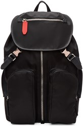 Neil Barrett Black Nylon Flap Backpack