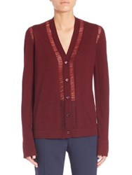 Maison Martin Margiela Long Sleeve V Neck Cardigan Burgundy