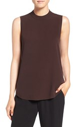 Eileen Fisher Women's Silk Crepe High Neck Sleeveless Blouse Clove