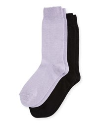 Neiman Marcus Two Pair Cashmere Blend Socks Black Purple
