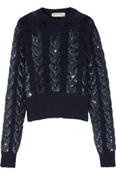 Emilio Pucci Distressed Sequin Embellished Cable Knit Wool Sweater Navy