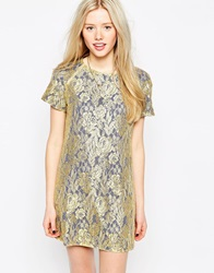 Liquorish Lace Shift Dress With Contrast Lining Goldblue