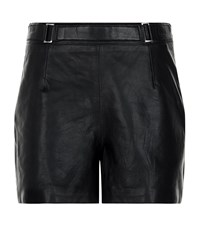 Reiss Bowery Leather Shorts Female Black