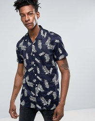 Minimum Maceo Hawaiian Shirt Leaf Print Short Sleeve Slim Fit In Navy Navy