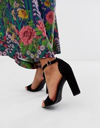 Ted Baker Black Suede Scallop Barely There Heeled Sandals