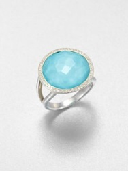 Ippolita Stella Turquoise Clear Quartz Diamond And Sterling Silver Medium Doublet Cocktail Ring Silver Blue