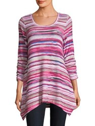 Context Ruched Sleeve Striped Blouse Pink
