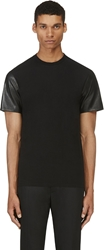 Neil Barrett Black Leather Sleeve T Shirt