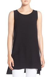 Eileen Fisher Women's Silk Crepe Scoop Neck Sleeveless Tunic Black