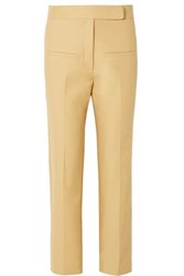 Khaite Coco Cropped Cotton Twill Straight Leg Pants Sand