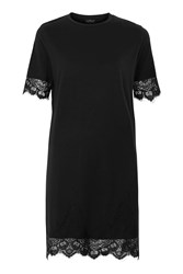 Topshop Petite Lace Petal Shift Dress Black
