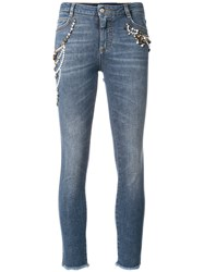 Ermanno Scervino Embroidered Cropped Jeans Cotton Polyester Spandex Elastane Blue