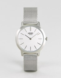 Henry London Mesh Watch In Silver 34Mm Silver