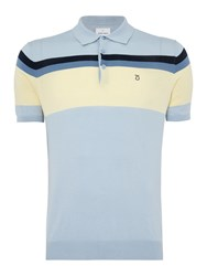 Peter Werth Men's Writer Multi Stripe Knitted Cotton Polo Sky Blue