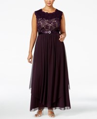 R And M Richards Plus Size Embroidered Lace A Line Gown Plum Taupe