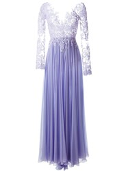 Zuhair Murad Sequinned Lace Evening Dress Pink And Purple