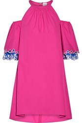 Peter Pilotto Off The Shoulder Embroidered Cotton Poplin Mini Dress Pink