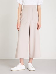 See By Chloe Wide Leg Cropped Crepe Trousers Bark Grey