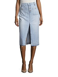 7 For All Mankind Exposed Button Long Skirt With Released Hem Cool Cloudy Blue