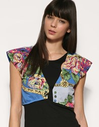 Motel Chain Flower Cap Sleeve Crop Top Blue
