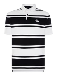 Canterbury Of New Zealand Stripe Loop Collar Rugby S S White