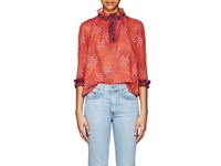 Warm Ines Geometric Print Cotton Voile Blouse Red