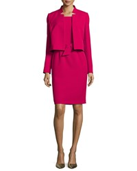 Albert Nipon Belted Sheath Dress W Matching Jacket Raspberry Pink