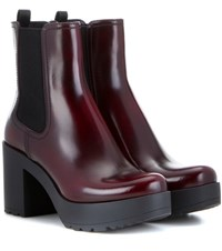 Prada Leather Platform Chelsea Boots Red