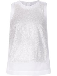 Kaufman Franco Kaufmanfranco Rhinestone Panel Tank Top White