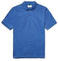 Everest Isles Shell Trimmed Cotton Pique Polo Shirt Azure