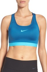 Nike Women's 'Pro Classic' Dri Fit Padded Sports Bra Industrial Blue Chlorine Blue