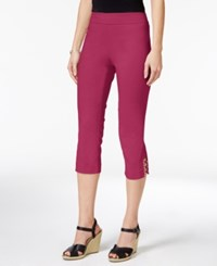 Jm Collection Petite Lattice Hem Capri Pants Only At Macy's Steel Rose