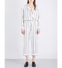 Brunello Cucinelli Metallic Stripe Silk Jumpsuit White Grey