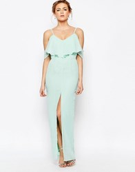 Elise Ryan Frill Maxi Dress With Split Front Mint Green