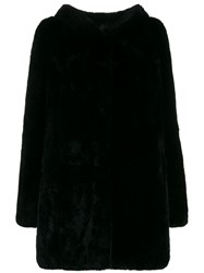 Yves Salomon Hooded Fur Coat Black