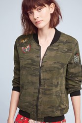 Anthropologie Embroidered Camo Bomber Green Motif