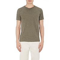 Barneys New York Men's Melange Jersey Crewneck T Shirt Dark Green