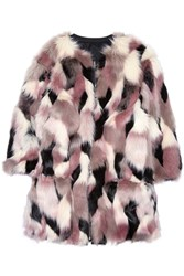 Nina Ricci Reversible Patchwork Faux Fur Coat Pink
