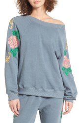 Wildfox Couture Women's Sommers Sweater Indigo Rose Embroidered Pullover
